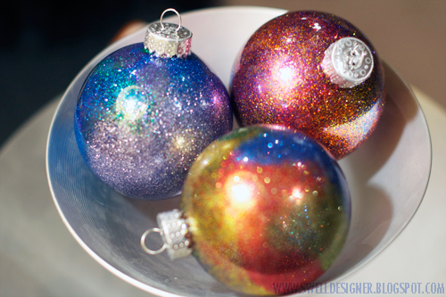 Glitter galaxy ornament diy its seriously addictive to make these little ornaments so make sure to buy several packages of clear ornaments when they are on sale or with you craft solutioingenieria Gallery