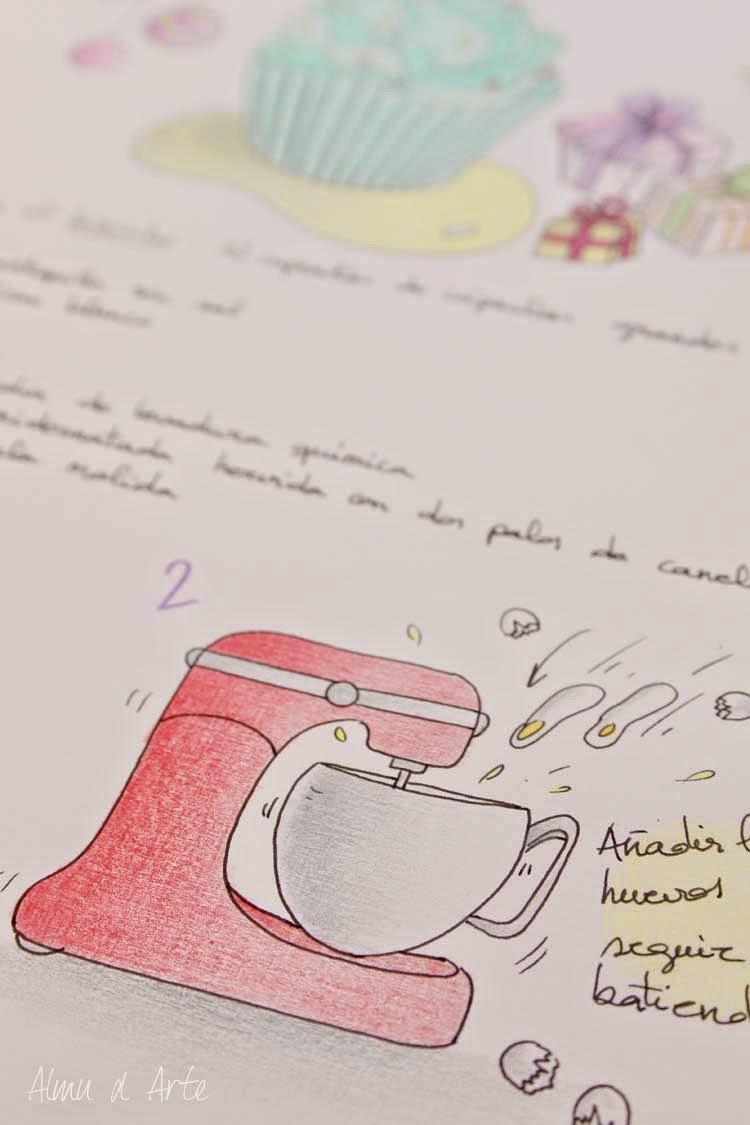 Receta dibujada a mano con lápices de colores