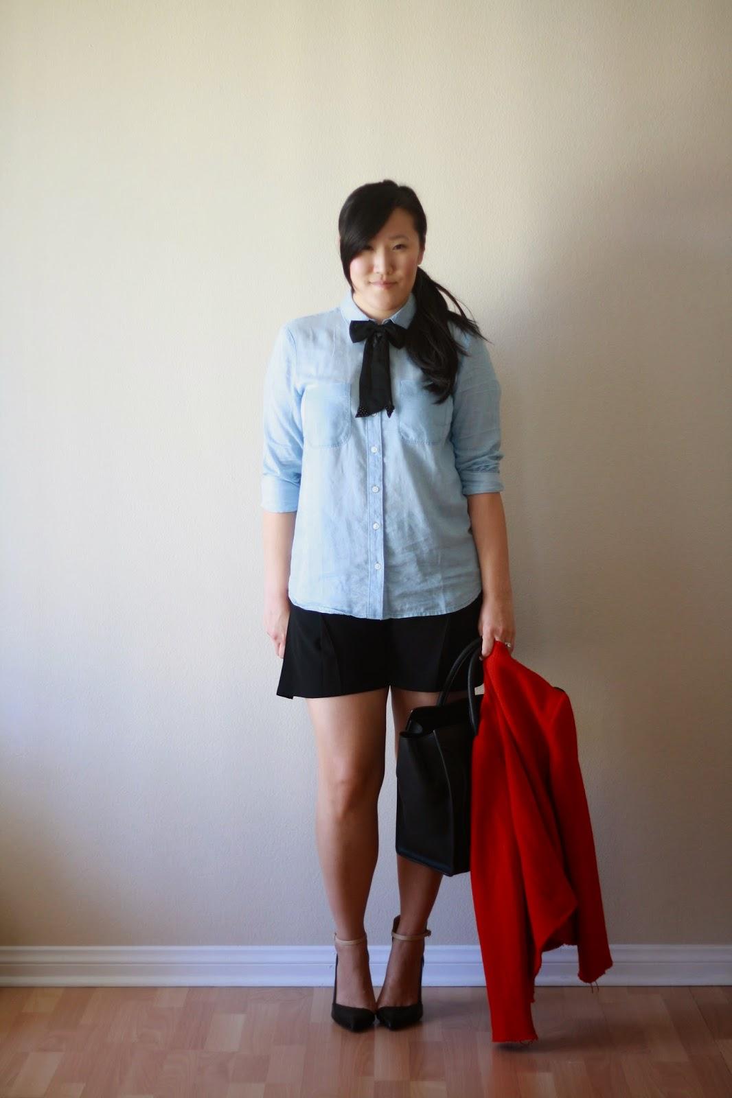 ootd, style, blogger, style blogger, loft, zara, gap, celine bag, bow tie, bow, chambray