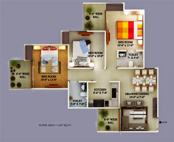 Ecovillage Noida Extension :: Floor Plans 3 BHK 1906 sqft