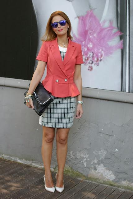 Half sleeve peplum blazer, Patrizia Pepe, Zara check dress, Fashion and Cookies, fashion blogger