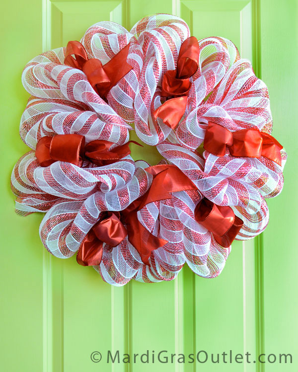 An updated version of the popular candy cane deco mesh wreath- A tutorial