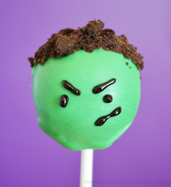 Hulk Cake Pops at artsyfartsymama.com