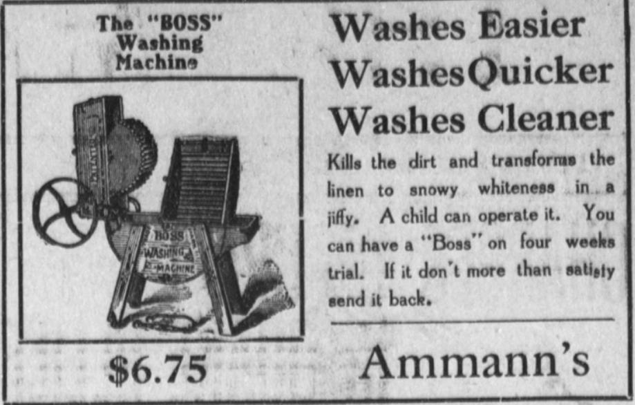 """The """"Boss"""" Washing machine - Advertisement c. 1909"""