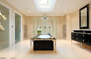 Home spa large contemporary bathroom