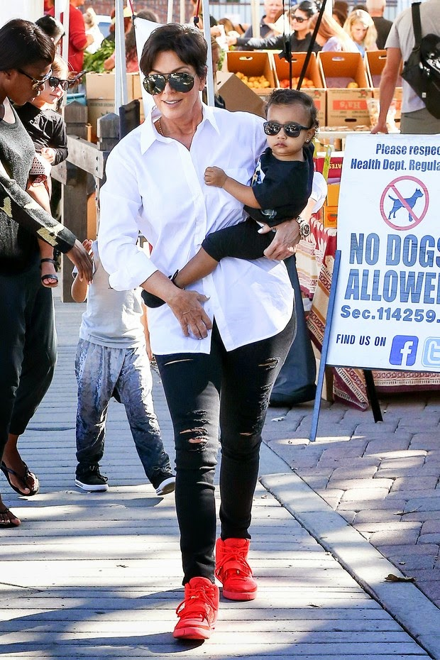 Kris Jenner walks with North granddaughter
