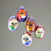 6 Wooden Egg Ornaments with Painted Kitties