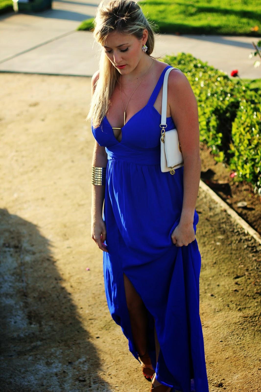 Wedding Guest Attire: Blue Maxi - She Said He Said