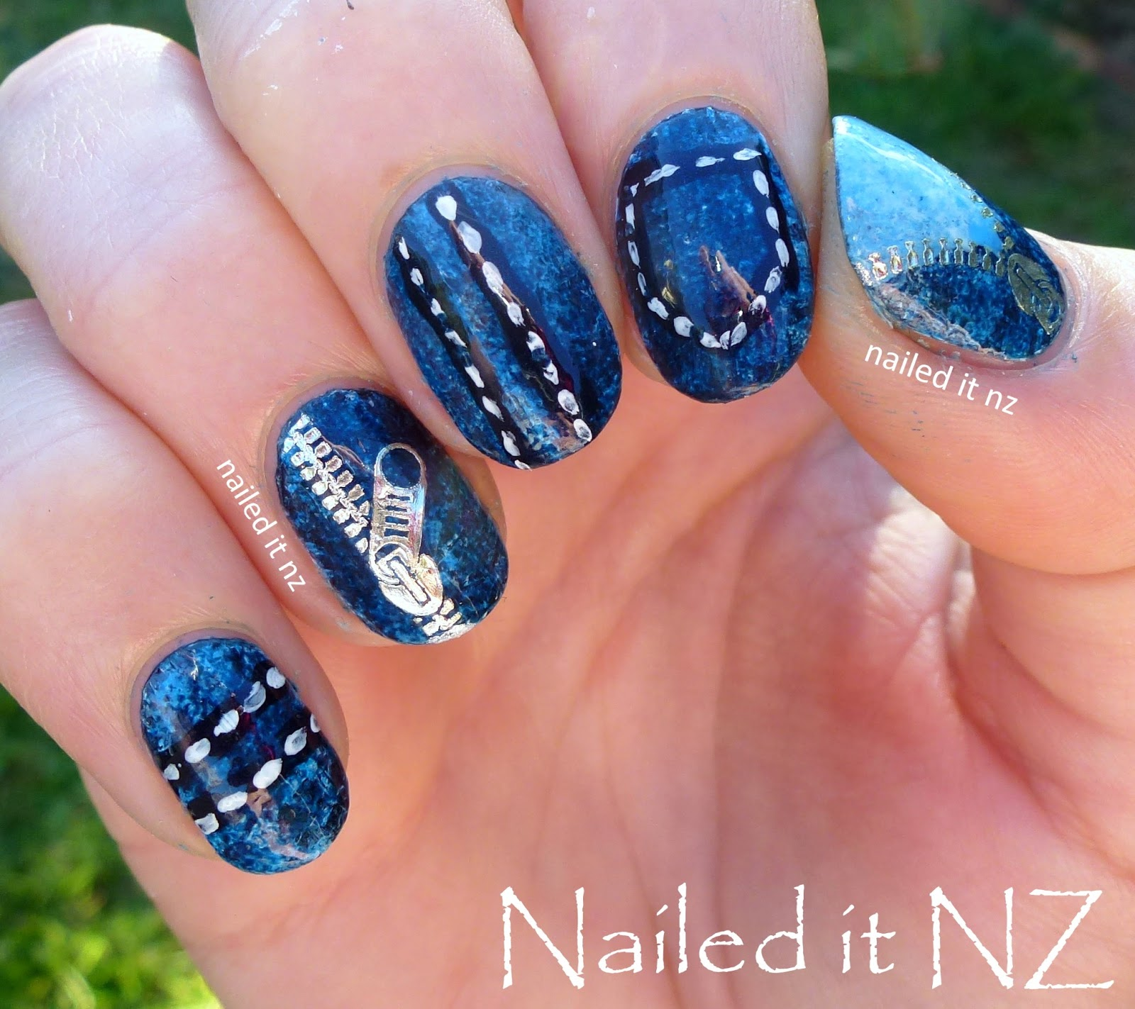 Denim nails - zip decor review for Born Pretty Store