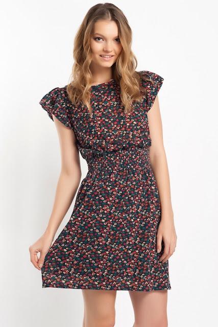 çiçek desenli kısa elbise, koton 2014 elbise modelleri,