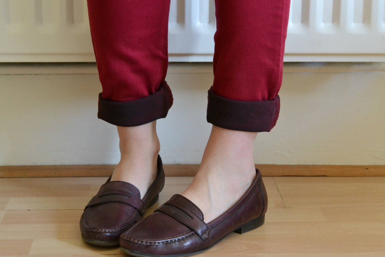 Burgundy red loafers marks and spencer