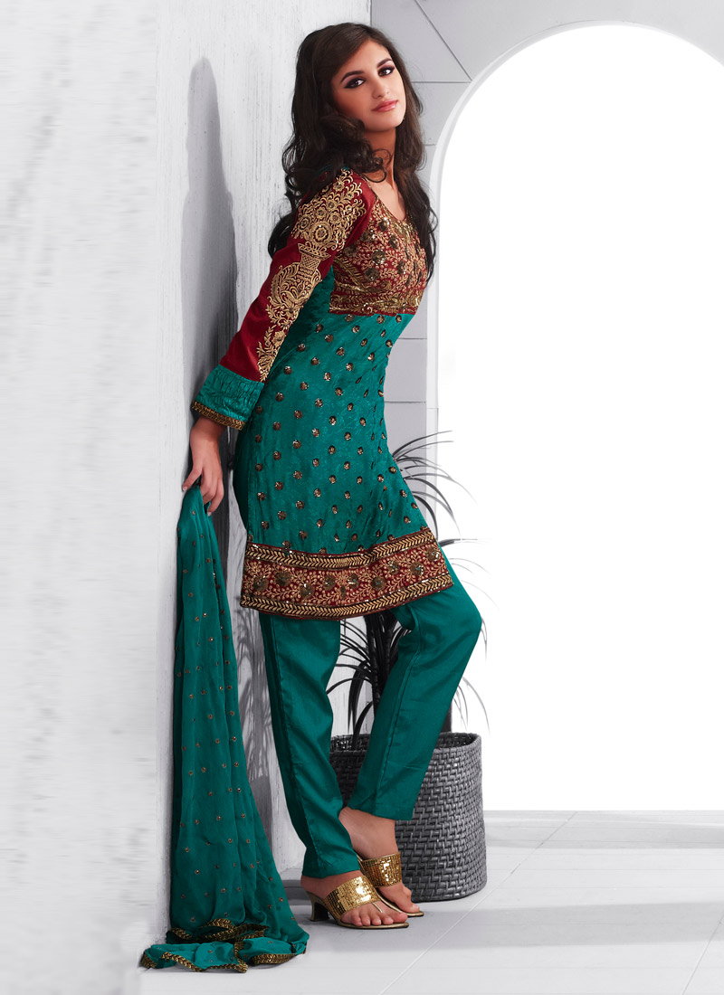 This embroidered dress with pajama trouser is one of the best choice