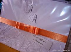 Convite de Casamento com renda e iniciais - Alicia e Aurelino
