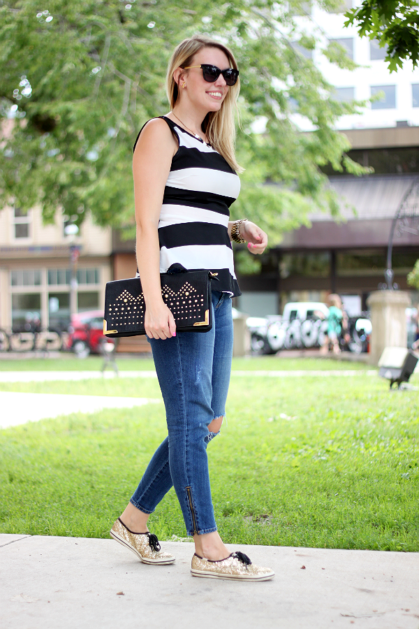 black and white striped peplum, kate spade glitter keds
