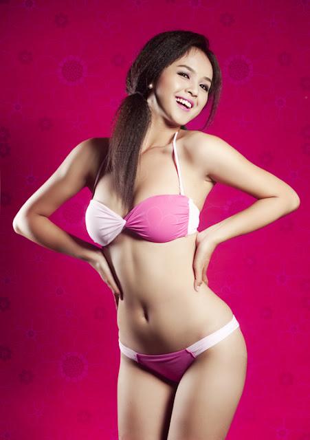 Hot Girl Trinh Pham sexy in Pink Bikini