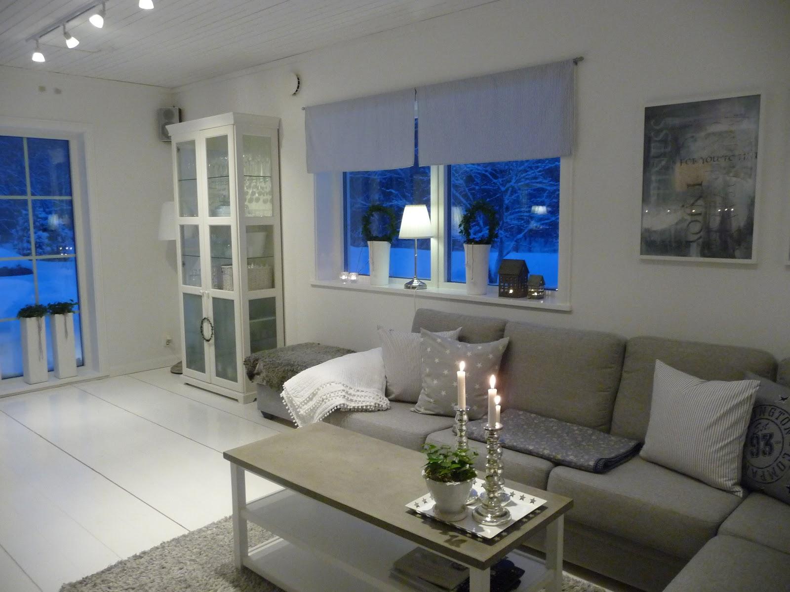 Vitt och blått: vardagsrum