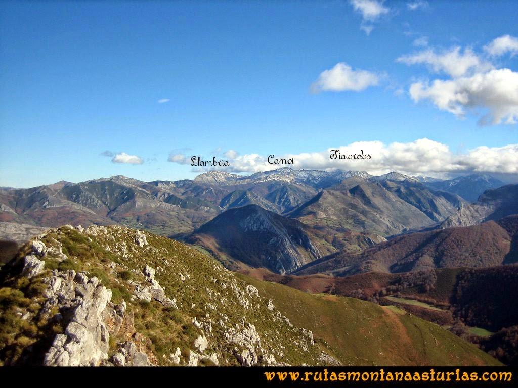 Ruta Cuyargayos: Vista de La Llambria, Campigueños y Tiatordos