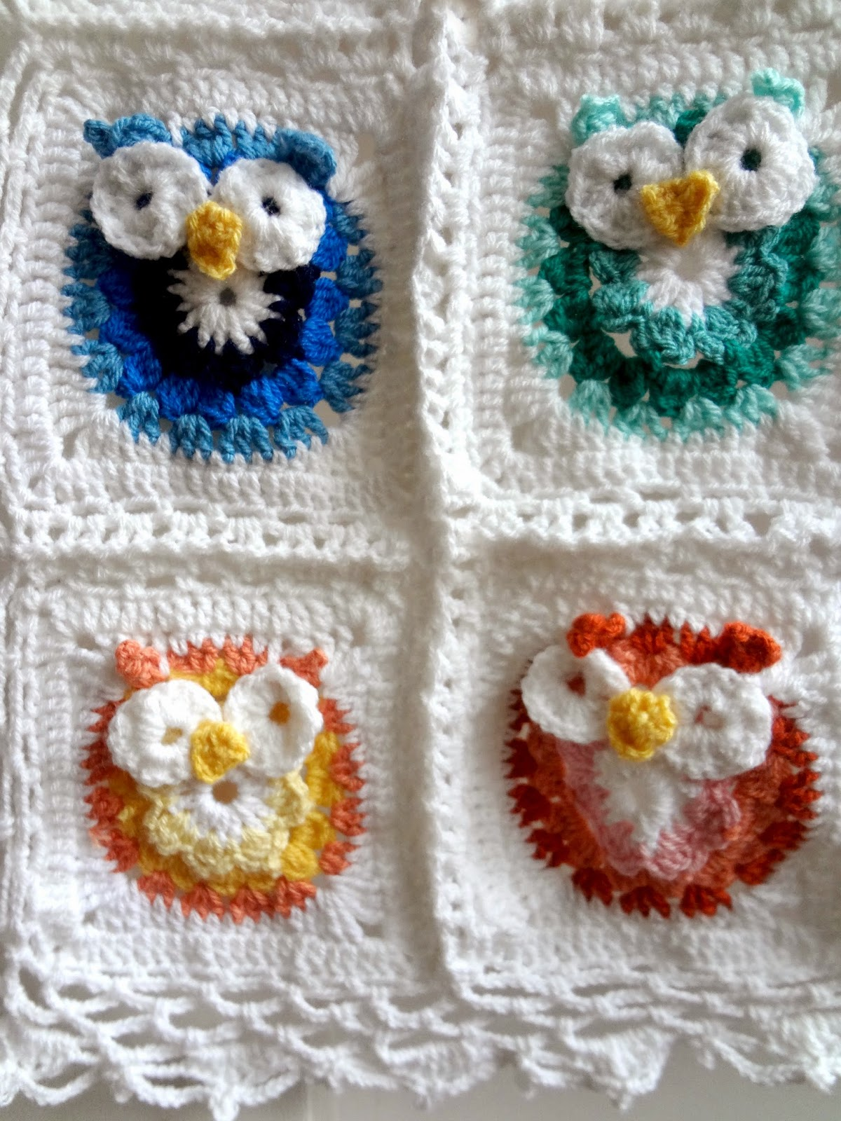 Free Crochet Pattern For Owl Baby Blanket : Little Treasures: Crochet Owl Blanket Pattern