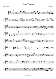 Partitura de Fiesta Pagana para Clarinete Mago de Oz Clarinet Sheet Music Fiesta Pagana. Para tocar con tu instrumento y la música original de la canción.
