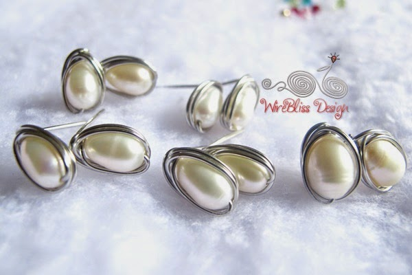 Wire wrapped pearl stud earrings by Wirebliss - teardrop shape