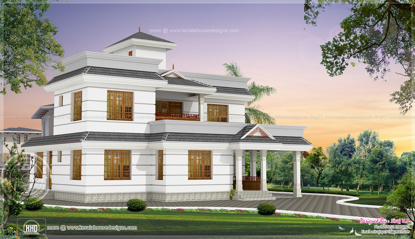 1990 square feet 4 bhk house elevation design kerala for Kerala elevation photos