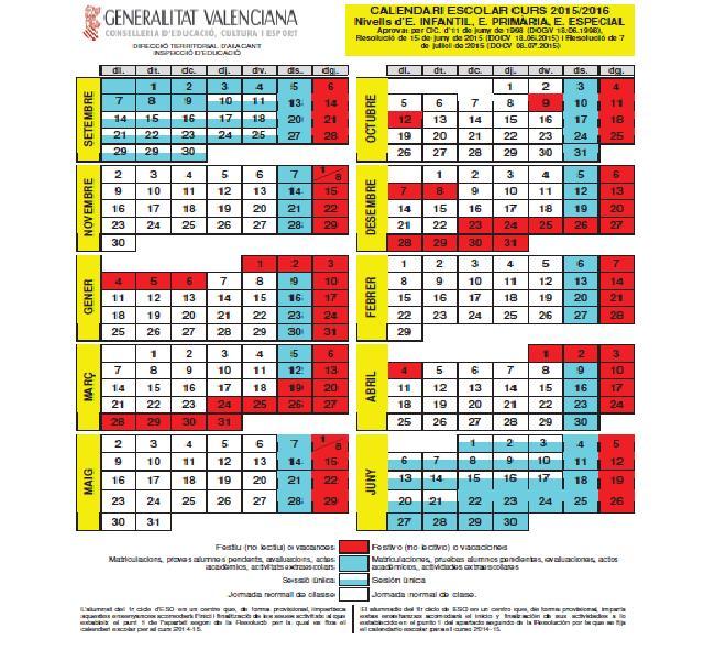 Calendari oficial 2015-16