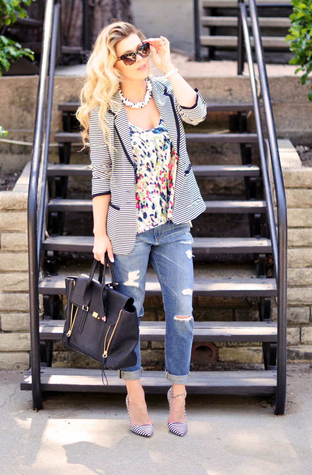 boyfriend jeans for work, striped blazer