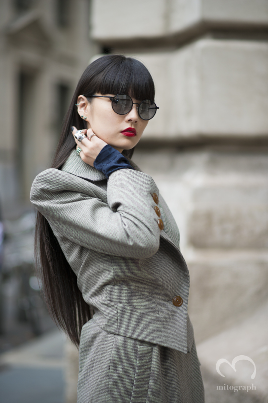 Model Kozue Akimoto before Vivien Westwood show during Paris Fashion Week 2014 Spring Summer PFW