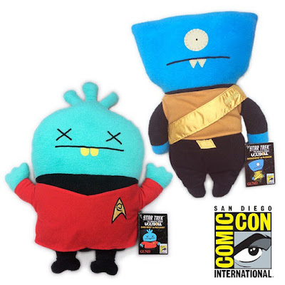 "San Diego Comic-Con 2015 Exclusive Star Trek Uglydoll Plush Dolls - Baby Babo as ""Dead"" Red Shirt & Wedgehead as Klingon"