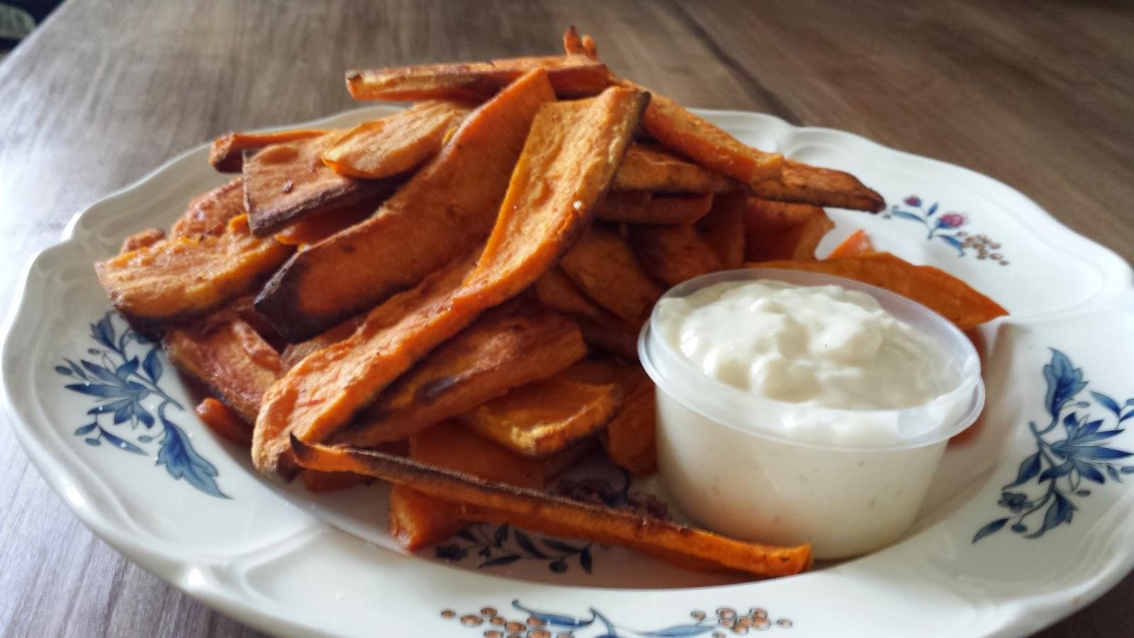 Half Baked Cooks: Sweet Potato Fries with Roasted Garlic Aioli