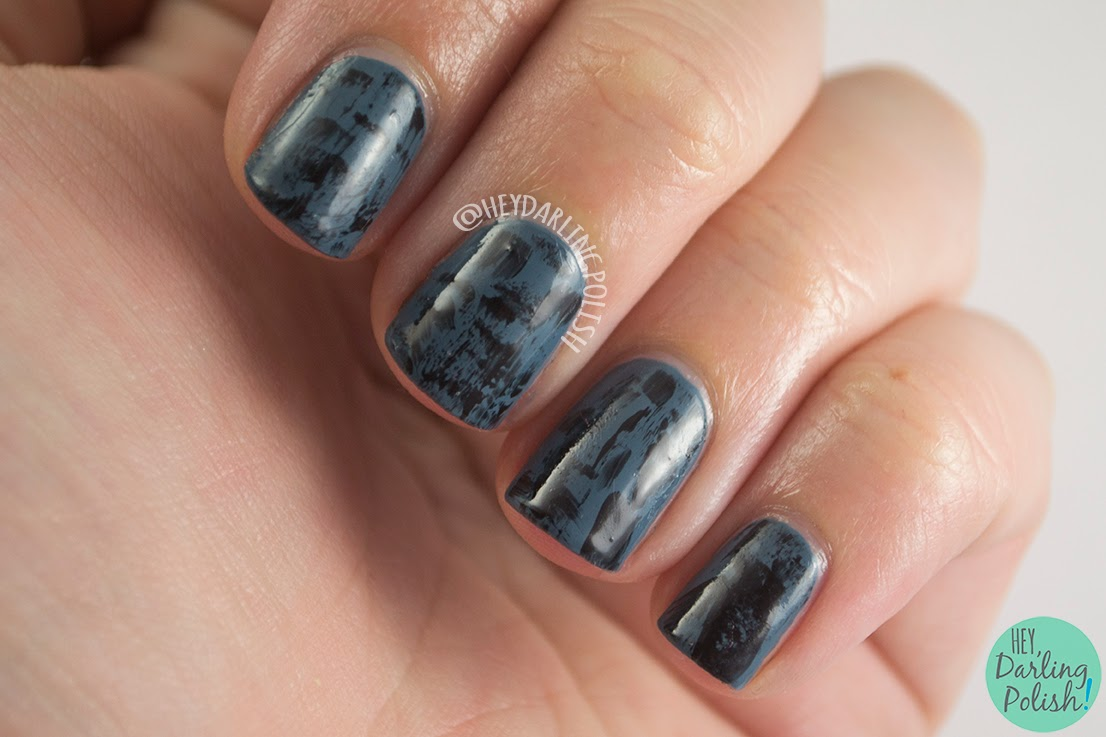 nails, nail art, nail polish, dark, blue, black, distressed, hey darling polish, oh mon dieu 2