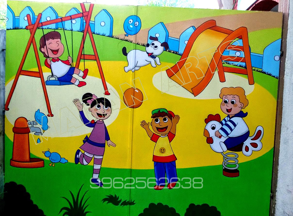 kidswallart: kids wall art for play schools - ( maran arts - 9962562638)