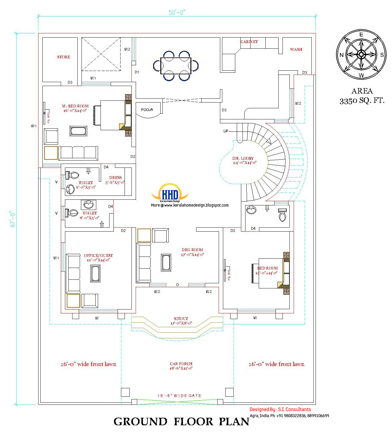 Ground floor plan of beautiful double story house - 3350 Sq. Ft. (311