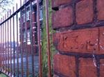 K Self cut into the Hartley Street school wall