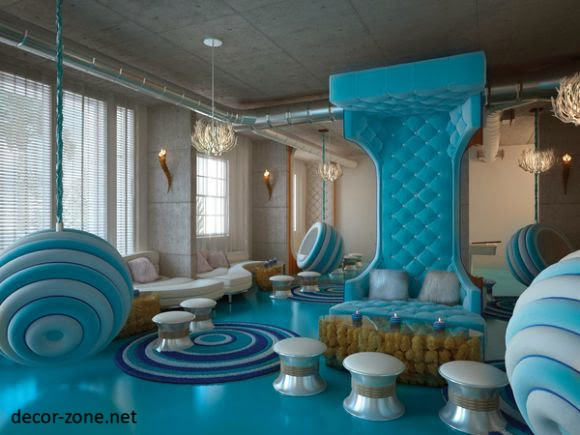 Living Room Interior Design In Turquoise