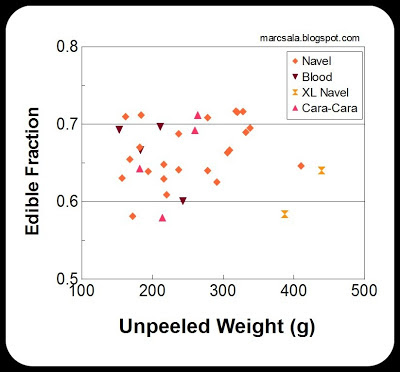 Chart of edible fraction vs unpeeled weight for many oranges at Mental Masala