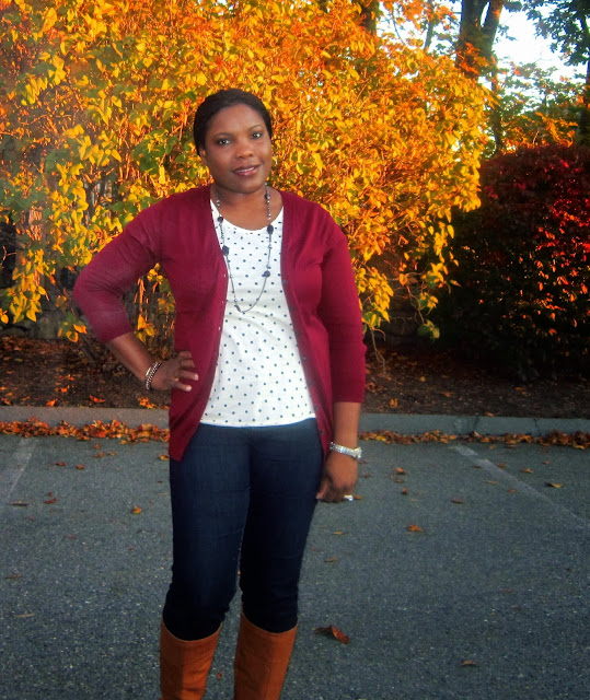 Burgundy and navy dots, Skinny Jeans