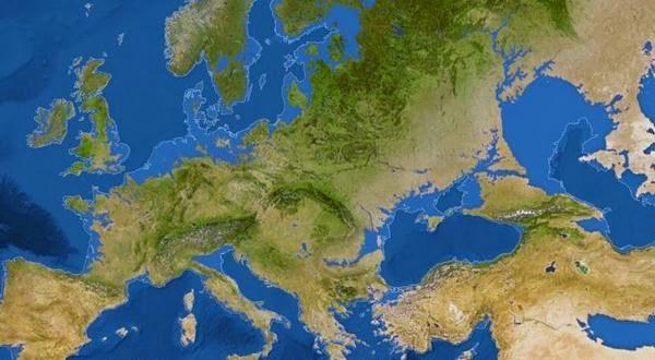 Peta menunjukkan apa yang akan terjadi pada Eropa bila semua es kutub meleleh. London bakal tinggal kenangan. @ National Geographic