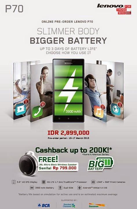 Lenovo P70 Promo Preorder (Cashback dan Bonus JBL Micro Wireless Speaker)