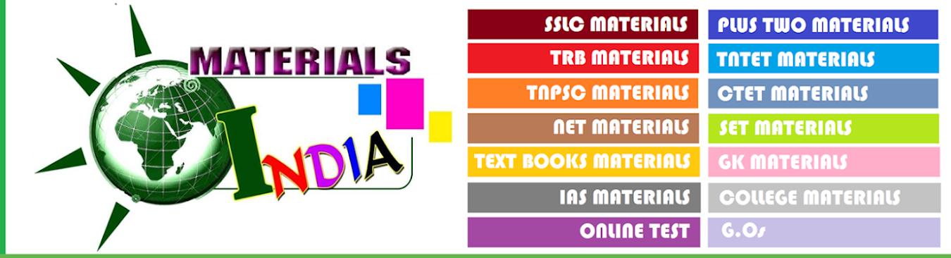Materials India | tnpsc study materials | trb  study materials | tntet  study materials