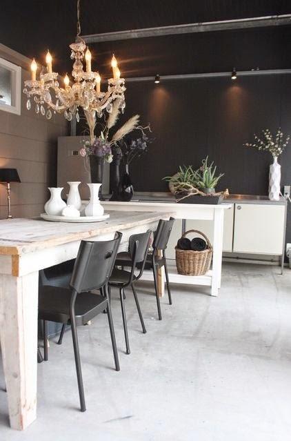 rustic meets modern black dining room crystal chandeleir