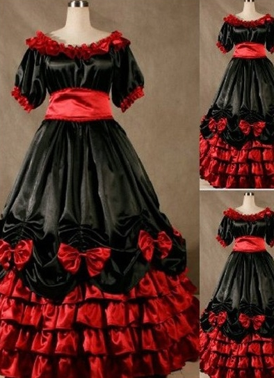 Fabulous Red and Black Ruffled Gothic Victorian Dress