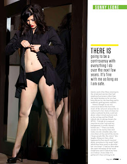 Sunny Leone in FHM India May 2012- Black Sexy Panties Dress