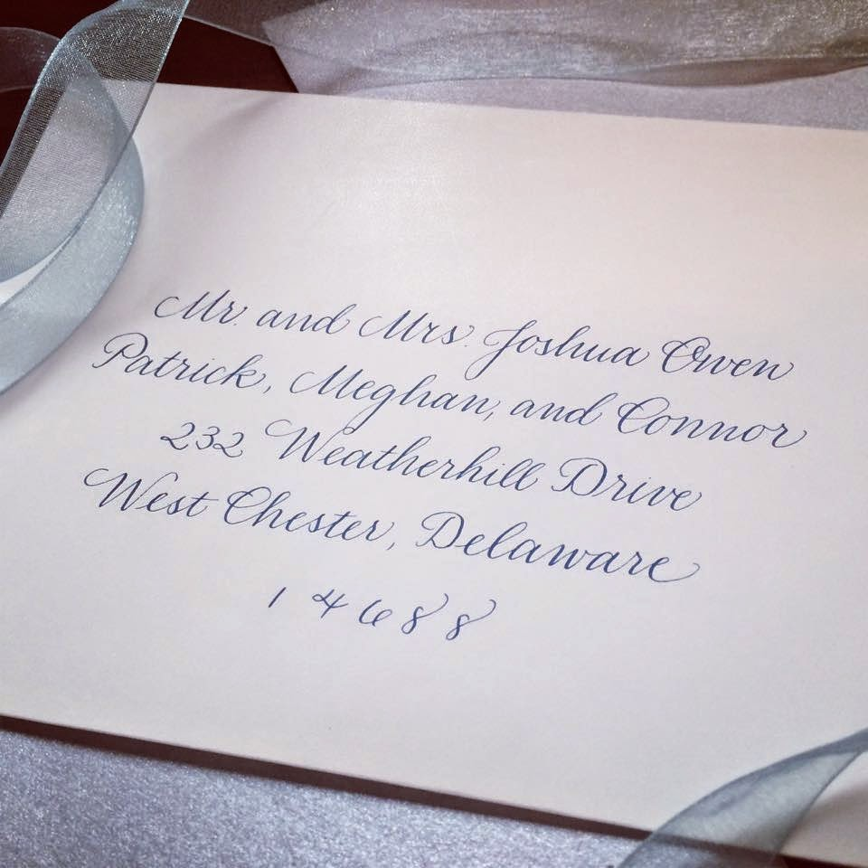 classic copperplate wedding calligraphy