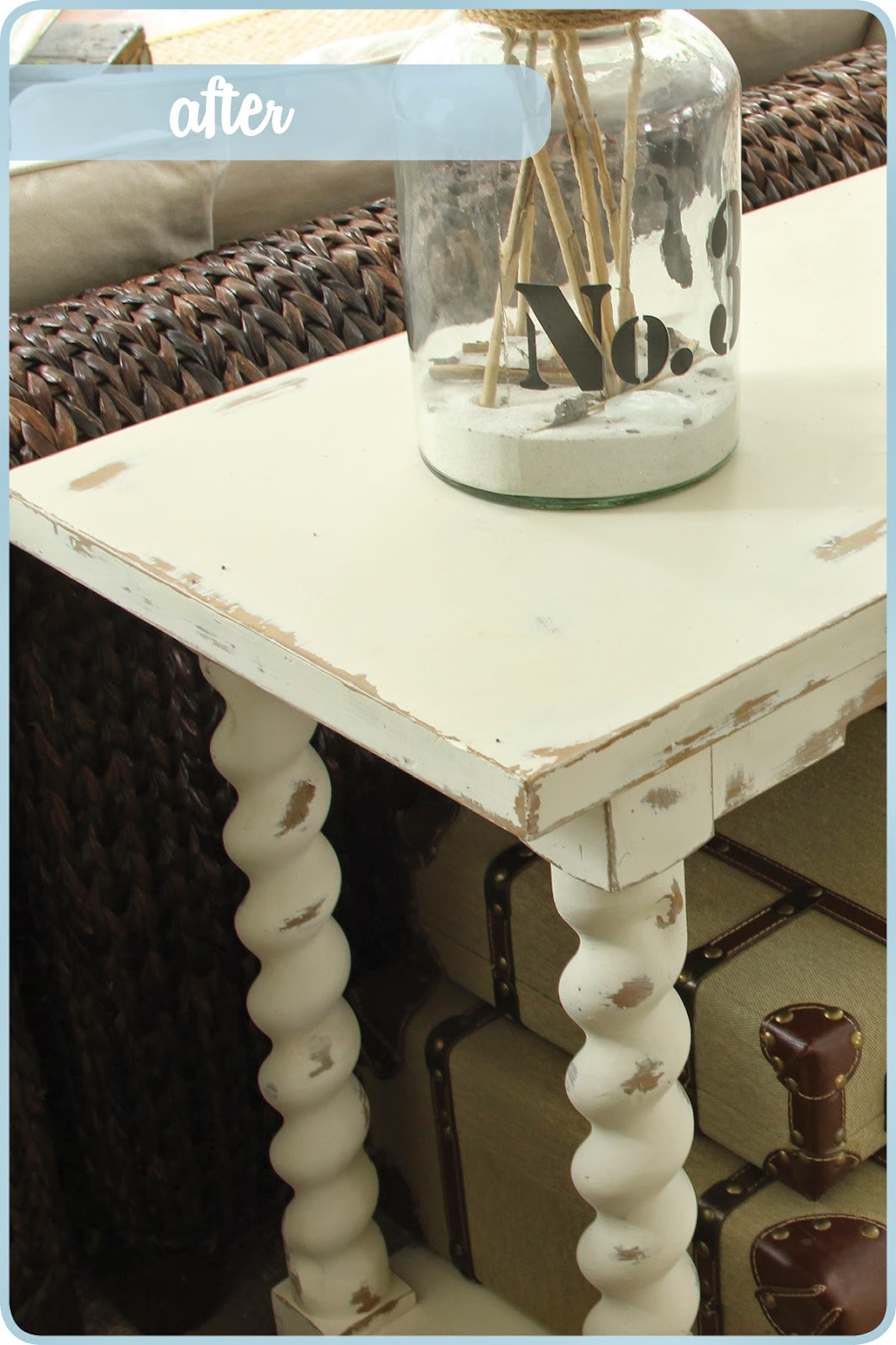 A thrifter in disguise give a tired old sofa table a fun chalk distressing with chalk paint sofa table geotapseo Image collections