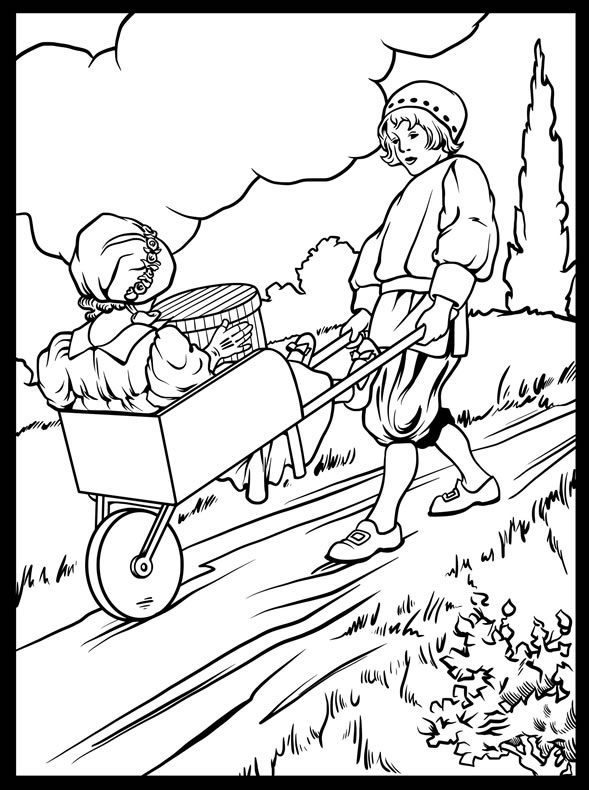 Wheelbarrows Mother Goose Coloring Page From Dover Books