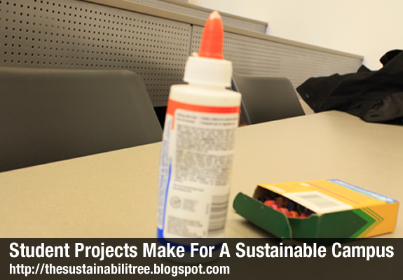Picture of crayons and a bottle of glue used to make posters for student campus sustainability projects at the University of Ottawa