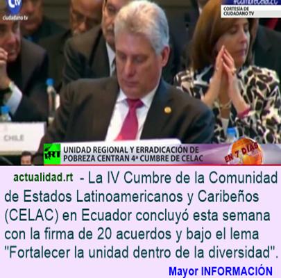 Unidad regional y erradicación de la pobreza centran la IV Cumbre de la CELAC