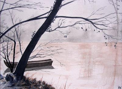 aquarelle bords du Loiret