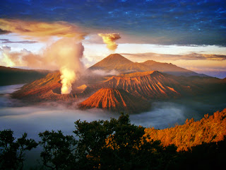 Mount Bromo is one of three volcanoes to have emerged from a vast crater stretching 10 kilometers across